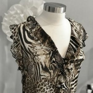 CACHE Animal Ruffled Print Top Sz L EUC